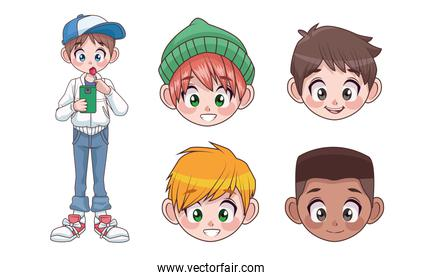 group of five young interracial teenagers boys kids heads characters
