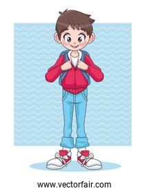 young teenager boy kid with school bag character
