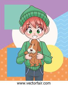 young teenager boy kid with dog mascot character