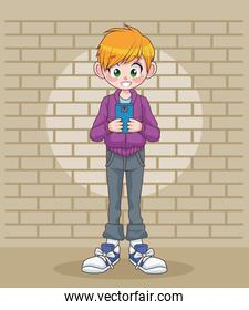 young teenager boy kid using smartphone in wall character
