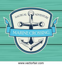 anchor nautical gray emblem in wooden background