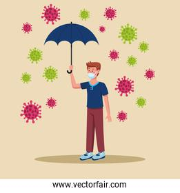 man wearing medical mask with umbrella and covid19 particles