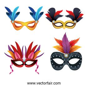 bundle of four mardi gras masks and feathers