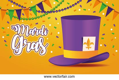 mardi gras carnival lettering with tophat and garlands