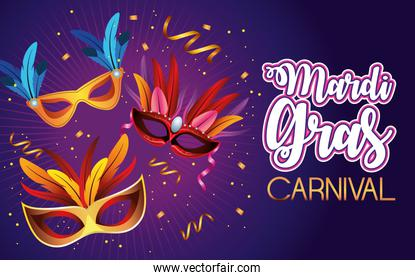 mardi gras carnival celebration lettering with masks and feathers
