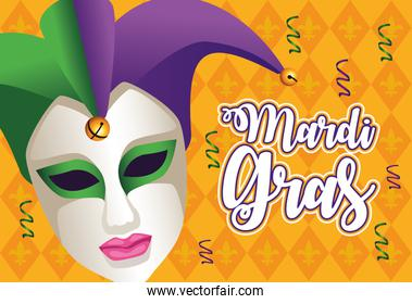 mardi gras carnival lettering with jester female mask