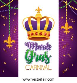 mardi gras carnival lettering with queen crown