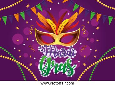 mardi gras celebration lettering with mask and feathers