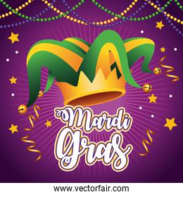 mardi gras carnival lettering with jester hat and garlands