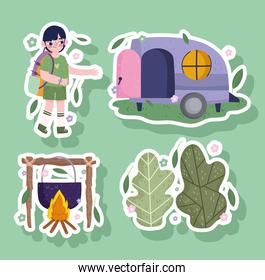 camping, boy with bag, camper forest and food in cartoon sticker style