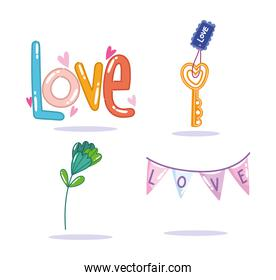 love romantic flower and pennants decoration in cartoon style design