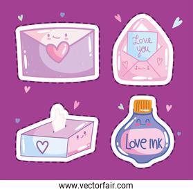 love romantic envelope mail letter message in cartoon style design icons