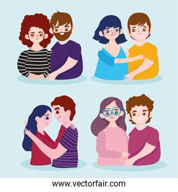 set of different couple love romantic cartoon characters