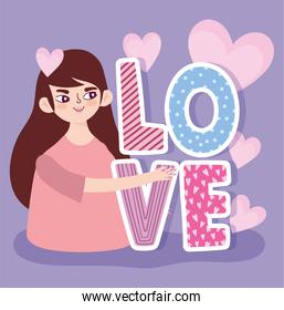 cartoon young woman love text and hearts romantic design