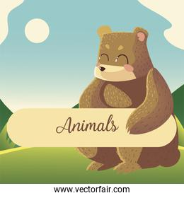 cartoon bear with animals text sitting in the grass