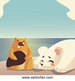 cartoon animals polar bear and beaver natural landscape