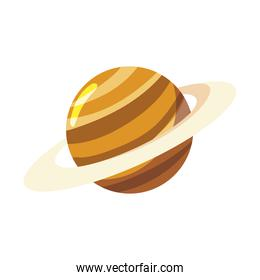 space saturn planet galaxy solar system cartoon icon white background
