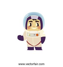 space astronaut character with spacesuit and helmet cartoon