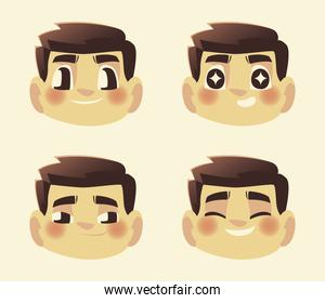 funny faces man cartoon characters different expression
