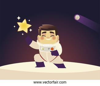 space astronaut in suit with star and planet galaxy cartoon