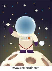 space astronaut with suit and helmet standing on moon cartoon