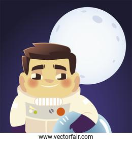 space astronaut holds helmet with moon background cartoon