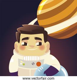 space astronaut with helmet and saturn planet galaxy cartoon