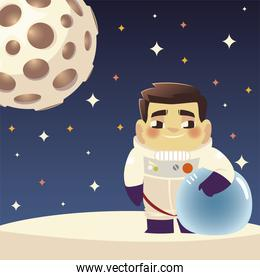 space astronaut character planet and stars cosmos cartoon