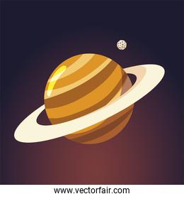 space saturn planet and moon galaxy solar system cartoon
