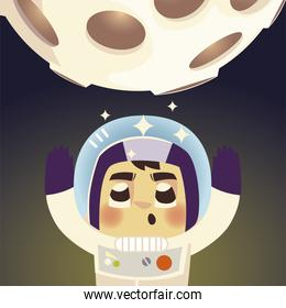 space astronaut in spacesuit with moon cosmos galaxy cartoon