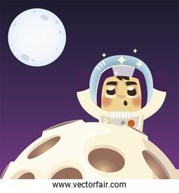 space astronaut planet and moon explore cartoon