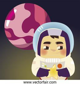 space astronaut in suit with helmet star and planet cartoon
