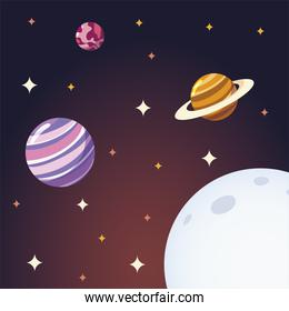 space moon planets and stars galaxy solar system cartoon