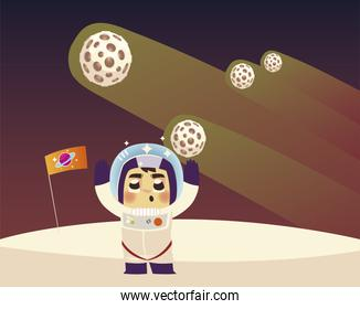 space astronaut character flag planets and comet cartoon