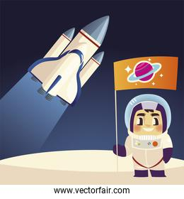 space astronaut with flag and spaceship cartoon