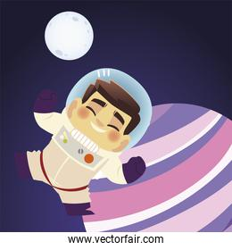space happy astronaut character moon and planet cartoon