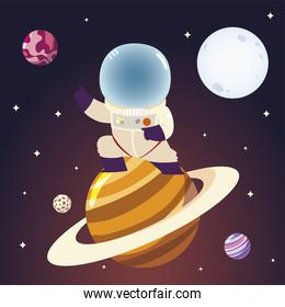 space astronaut on saturn planet character moon and stars cosmos
