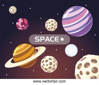 space galaxy solar system moon planets and stars cartoon