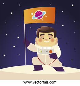 space astronaut with flag on planet stars cosmos cartoon