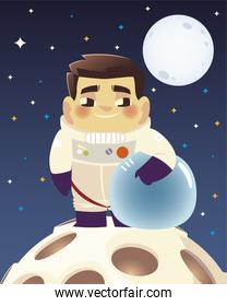 space astronaut holding helmet on planet and moon background