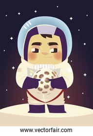 space astronaut with spacesuit and helmet holding planet cartoon