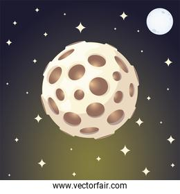 space planet moon and stars galaxy solar system cartoon