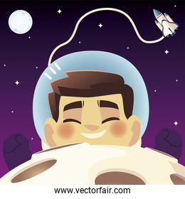 space floating astronaut spaceship planet and moon cartoon