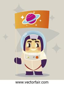 space astronaut with flag cartoon character design