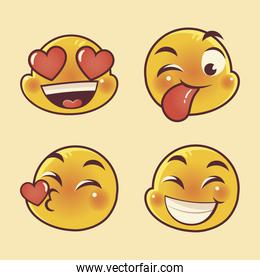 emoji faces expression funny happy love and surprised set