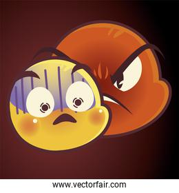 funny emoji, emoticon faces angry and scared expression social media