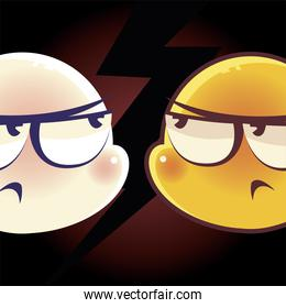 funny emoji, emoticon faces confused and angry expression social media