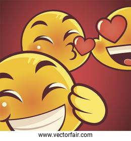 funny emoji, emoticon faces love kiss and happy expression social media