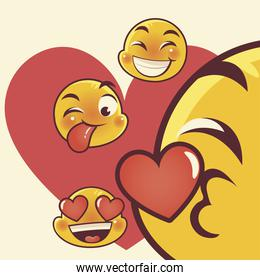 funny emoji, emoticon faces tongue out love kiss happy expression social media