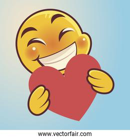 funny emoji, emoticon face with heart expression social media